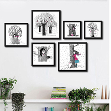 Kawaii Girls Tree Art Prints Poster Triptych Modern Black White Wall Picture Canvas Painting Kids Room Decor