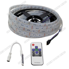 15sets/lot 5050 led strip rgb waterproof 60led/m with 10 keys mini RF controller super bright Daytime Running led strip light