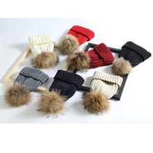 Removable real fur pompon hats women skullies beanies dying pom pom Warm stocking hat autumn cap winter hat with ponpon female