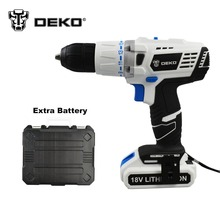 DEKO 18V DC New Design Mobile Power Supply Lithium Battery Cordless Impact  Drill  With Extra Battery pack and BMC