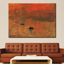 wall Picture oil painting claude monet impression soleil levant impress painter print wall painting No Framed(China)