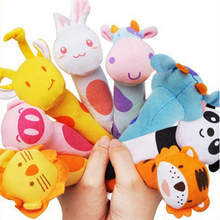 Baby Stuffed Toys Colorful PP Cotton Lining Cute Animal Head IQ Development Handled Cloth Toy(China)