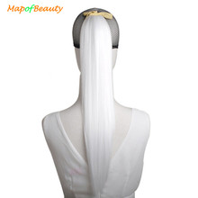 "MapofBeauty 22"" Ribbon Ponytail Hair Extensions 17 colors white blue Blonde long Straight Women's Fake Synthetic Pony Tail Hair(China)"