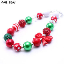MHS.SUN 2PCS New Christmas Style Kid Chunky Necklace Red Bow Toddlers Girls Bubblegum Bead Chunky Necklace Children Jewelry(China)