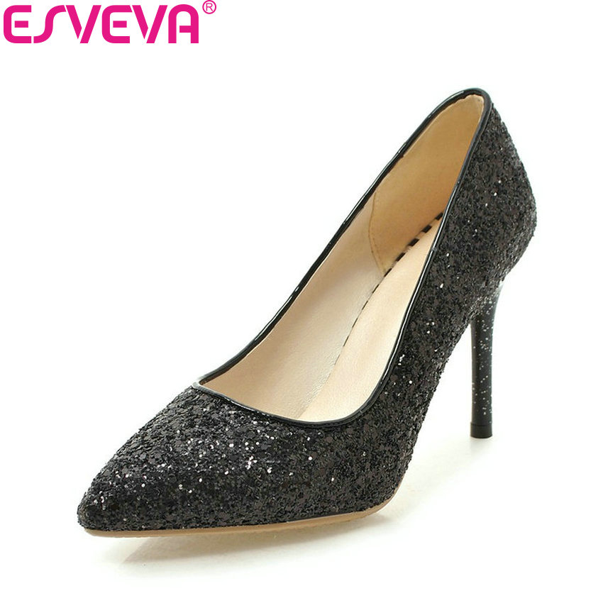 ESVEVA 2018 Women Pumps Sequins Bling Slip on Shoes Thin High Heels Pointed Toe Sexy and Fashion Party Women Shoes Size 34-43<br>