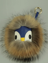 Faux fur keychain Black leather wallet Pom Pom real fur monster doll keychain charm cart bag bugs pendant strap monster