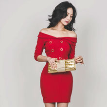 [New Sale] Women Party Quarter Sleeve Sexy Off Shoulder Red Sheath Dress 2017 Elegant Pencil Bodycon Ladies Dres
