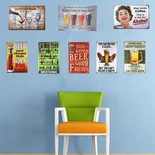 Metal Tin signs Plaque Beer Wine Bar sign Rustic Restaurant Pub Bar Tavern Wall Stickers Decor