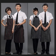 150pcs Black Adult Apron Kitchen Restaurant Bar Chef Cook Waiter Polyester Stripe Bib Half Apron Cook Cleaning Tools ZA0412