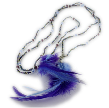 European Style Blue Feather Temperament OL Long Chain Beads Knitted Necklace V1568