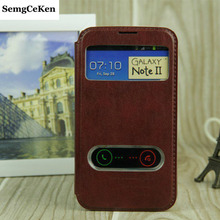 Buy SemgCeKen luxury real original leather case samsung galaxy note 2 note2 n7100 pu view phone flip window retro coque cover for $3.98 in AliExpress store