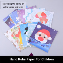 Children puzzle hand rubs paper kindergarten manual Christmas DIY manufacture material package creativity cartoon stick picture(China)