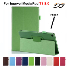 PU Leather Case For Huawei MediaPad T3 8.0 KOB-L09 KOB-W09 Tablet Stand Protective Case for Huawei Honor Play Pad 2 8.0inch(China)