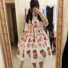 2017 Japanese lolita soft girl cute temporary parking Italian food pasta pattern bow dress wj493 free shipping