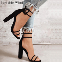 Parkside Wind Trendy Sandals Size 35-43 Women Ankle Strap Heel Sandal Transparent Shoes Crystal Concise Party High Heels Shoes-5