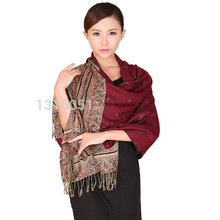 New Burgundy Spring Winter Reversal Double-Sides Fancy Paisley Women's Fine Tassel Pashmina Shawl Scarf Warm Bee 112410(China)