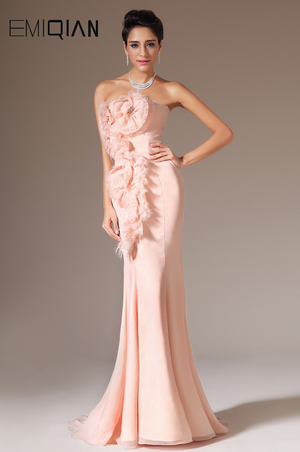Free Shipping New Pink Strapless Mermaid Stylish Flowers Decoration Prom Dresses