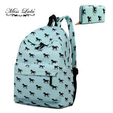 Miss Lulu Women Backpacks A4 Large School Bags For Teenager Boys Girls  Horse Purse Canvas Travel Rucksack Shoulder Daypack E1401 41359c2524
