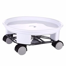 Heavy Duty Round Plant Caddy with Wheels and Water Container, White, 9.5Inch/12Inch/14Inch