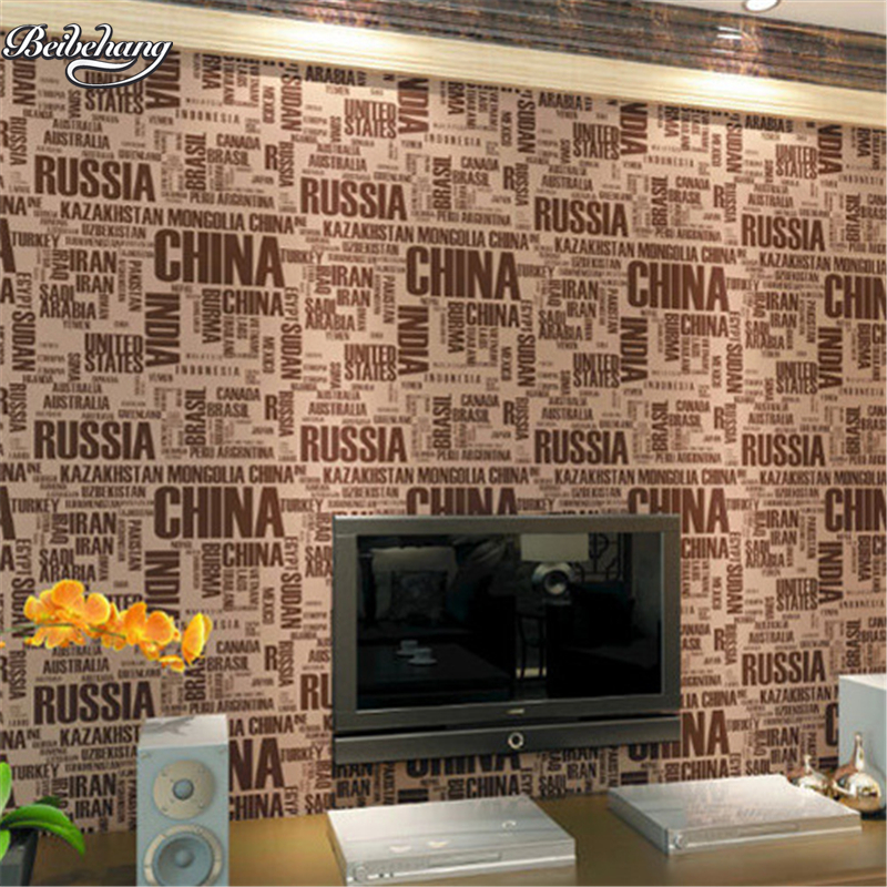 beibehang Simple modern fashion brown letters alphabet wallpaper characteristics cafe bar background wall silver wallpaper<br>
