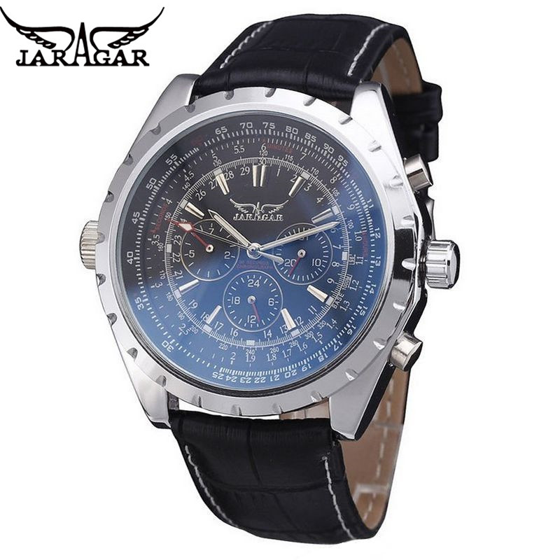 JARAGAR 2017 Fashion Mens Montre Homme Automatic Mechanical Watch Week Day Stainless Steel Watches  Gift Free Ship<br><br>Aliexpress