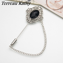 Terreau Kathy 2016 Vintage Brooches Unisex Collar Pins Resin Lapel Pin Brooch Pins Men Tassel Chain Brooch Bijoux BKb219