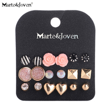 [Marte&Joven] Wholesale Gold Lovely Heart Black White Stripe Stud Earrings Mixed Rose Earring Sets For Teen Girl 9 Pairs Jewelry(China)