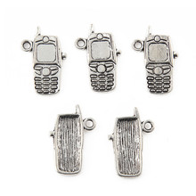 50pcs 10x20mm Silver Color MOBILE PHONE Alloy Charms Pendant For Jewelry Making DIY Accessories