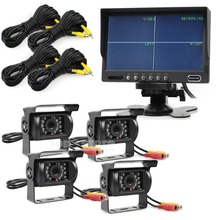 DIYSECUR 7 inch 4 Split QUAD Monitor +4 x CCD IR Night Vision Rear View Camera Waterproof Monitoring System