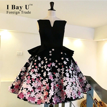 I Bay U Applqieus Saudi Arabic Sexy Evening Dresses High Quality Boat Neck Flower Petals Charming Prom Gowns Robe De Soiree