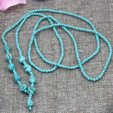 Bohemia style long chain necklace statement jewelry for women 4mm calaite turquoises round beads stone fashion neck 50inch B3190