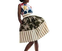 FGirl Women's Skirt Sun American Apparel Skirts Stripes and Butterfly Print High Waist Full Skirt FG41553