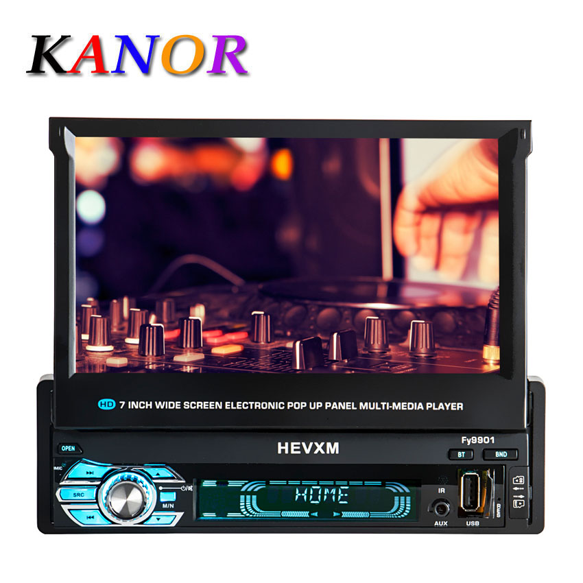 KANOR 1 din car dvd player gps navigation cd mp3 mp5 usb sd Bluetooth 1DIN Telescopic structure screen Car Multimedia Player luces led de policía