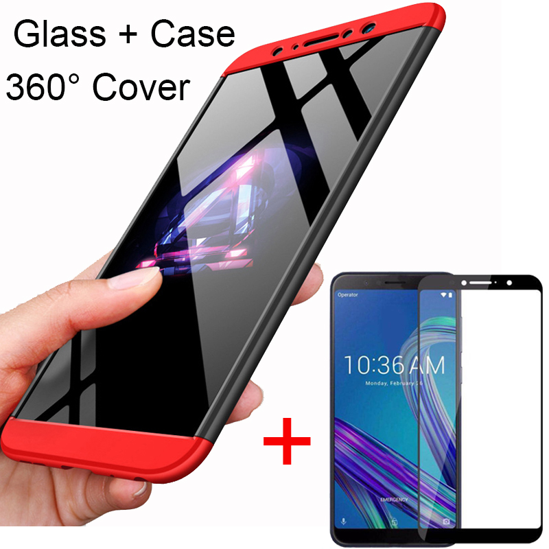 3-in-1 360 Tempered Glass + Case For ASUS Zenfone Max Pro M1 ZB602KL Back Cover Case for Asus ZB602KL 602KL ZB 602KL Glass Gift(China)