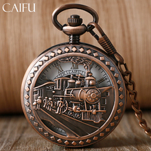 CAIFU Steampunk Pocket Watch Mechanical Red Copper/Black Running Steam Train Half Hunter Windup Watches Men Women Retro Pendant