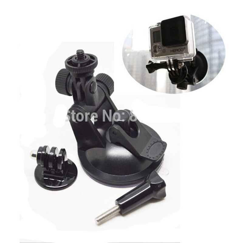 free shipping new Mini Car Windshield Suction Cup Mount +Tripod mount Adapter for GoPro Hero 3+ 3 2 1(China (Mainland))