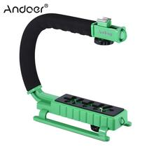 Andoer U/C Shaped Video Bracket Holder Handheld Camera Stabilizer Grip for Canon Nikon Sony Smartphone and Flash Light Monitor