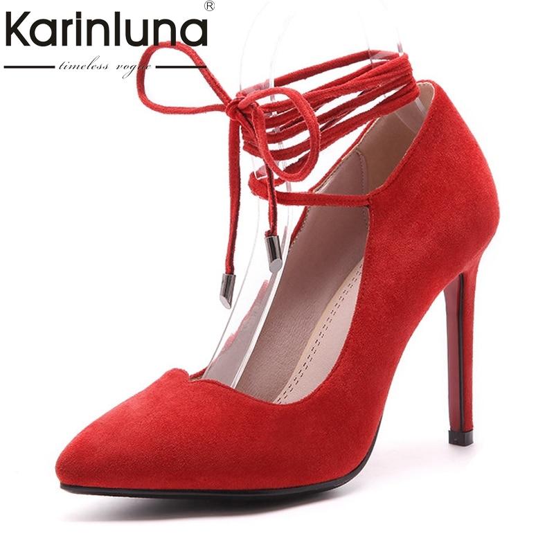 Karinluna Womens Roman Strap Lace Up High Heel Party Wedding Shoes Woman Pointed Toe Less Platform Pumps Big Size 33-43<br>