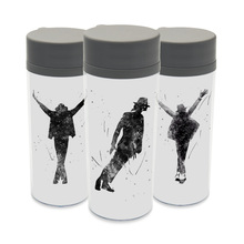 Clear  BPA Free Plastic Insulated Original Watercolor Music Celebrity Michael Jackson Music Kids Water Bottle 300ml Gift