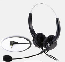 2.5mm plug Lightweight Headphone with MIC microphone call center headset anti-noise earphone for Panasonic Phones home office(China)