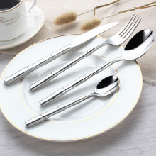 KTL 24Pcs/set Bamboo Dinnerware Set Top Quality Stainless Steel Dinner Steak Knife Fork  Teaspoon Party Cutlery Set