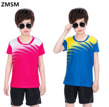 ZMSM Kids Tennis Shirts Sports Jersey Wicking Quick Dry Breathable Children Badminton Racing Suits Table Tenni Shirt NM5061-3(China)