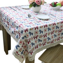 Lovely Small Horse Thick Linen / Cotton Elegant Tablecloth  Cheap Lace Table Cloth High Quality Napkins for The Table Placemat
