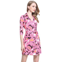 2017 Summer Casual Dress Women V-Neck Cropped Sleeve Petals Printed Milk Silk Wrap Dresses With Belt