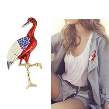 Cute Gold Tone Enamel Animal Flamingo Brooch for Women Gift Bird Costume Brooches Jewelry