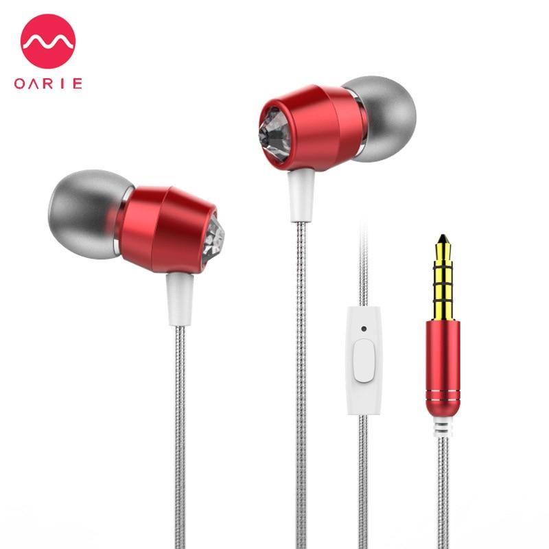 OARIE Fashion Metal Earphones with Diamond Design Earbuds Light Earphones Stereo Sound Earphones Comfortable Headset with Mic<br><br>Aliexpress