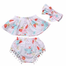 Summer Style Baby Slash Neck Top Baby Girls Cloth Set Infant Flower Ruffle Outfits Bloomer Headband Newborn Girl Clothes Sets F1(China)