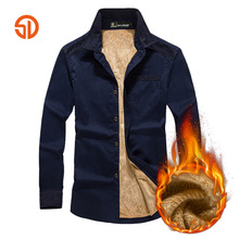 Senlin Jeep Autumn Winter Style Fashion Urbanity Keep Warm Thicker Long Sleeve Cotton Casual Wear Men's Shirt Plus Size M-4XL(China)