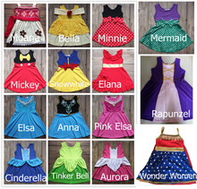 Girls Hallowee Princess Bella Dress Elsa Anna Costume Dresses Moana Belle Mermaid Minnie Mickey Party Cosply Dress Wonder Women(China)