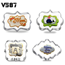 4pcs/set Kitchen Cake Mould Blessing Frame Wedding Stainless Steel Cookie Cutters 3D Biscuit Sugarcraft Baking Pastry Tools